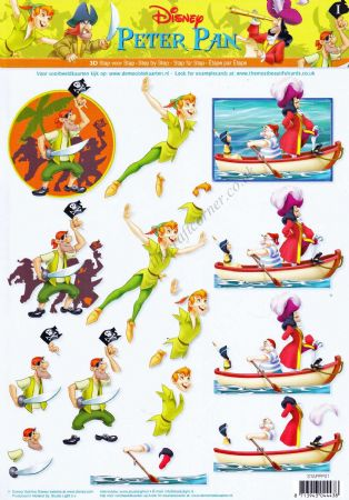 Disney Peter Pan & Captain Hook 3d Decoupage Sheet